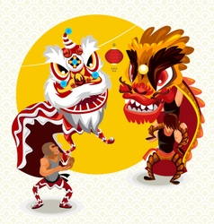 Chinese lunar new year lion dance fight vector
