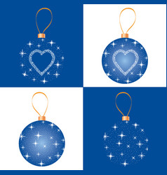 Christmas bauble set greeting card design vector