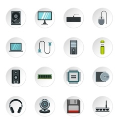 Computer equipment icons set flat style vector