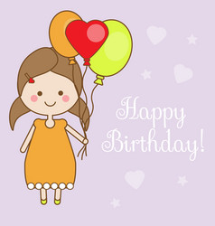 Cute smiling little girl holding balloons shappy vector