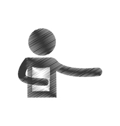 Drawing man holding document figure pictogram vector