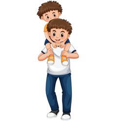 Father and son playing piggy back ride vector