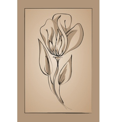 flower on a beige background Imitation ink vector image vector image