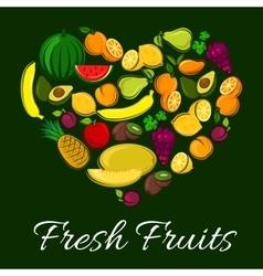 Fresh fruits heart shape poster vector
