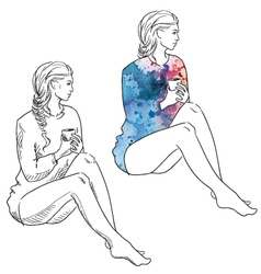 Girl in a sweater holding a cup of coffee vector image vector image