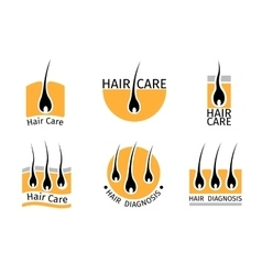 Hair follicle diagnostics logos set vector