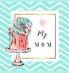 hand drawn greeting card with cake and vector image vector image