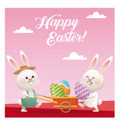 Happy easter couple bunny carrying egg pink vector