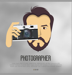 hipster bearded man with camera take a photo vector image vector image