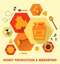 honey production and beekeeping flat icons concept vector image vector image