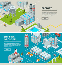 horizontal banners with industrial buildings vector image vector image