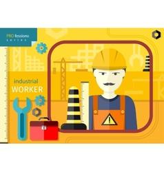 Industrial worker in workwear and helmet vector