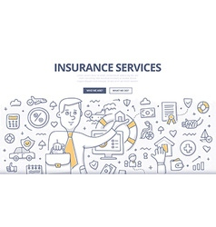 Insurance Services Doodle Concept vector image