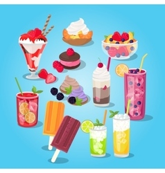 Large Set of Sweets Food Design Flat vector image vector image