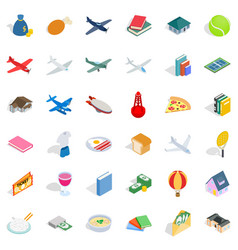 plurality icons set isometric style vector image vector image