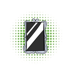 Rectangular mirror comics icon vector