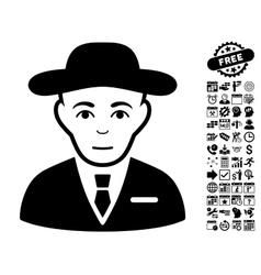 Secret service agent flat icon with bonus vector