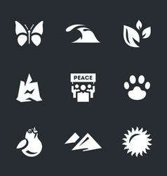 set of enviroment protection icons vector image