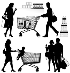 Several people are shopping vector image vector image