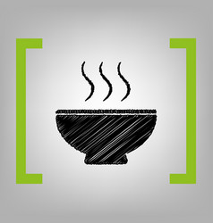 Soup sign black scribble icon in citron vector