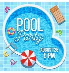 Summer party invitation with swimming pool vector