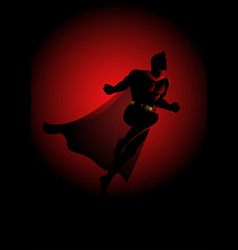 superhero flying on dramatic red background vector image vector image