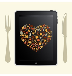 Tablet computer with food icons vector