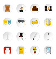 Theater set flat icons vector