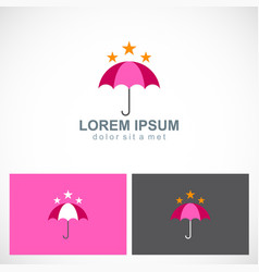Umbrella star protect logo vector