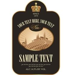 Wine label with vineyards vector
