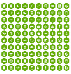 100 ecology icons hexagon green vector