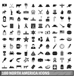100 north america icons set simple style vector