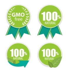 Gmo Free and 100 Natural Label Set vector image