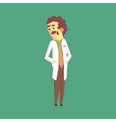 Funny Scientist In Lab Coat Standing And Smiling vector image