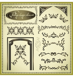 Set of decorative design elements vintage vector image