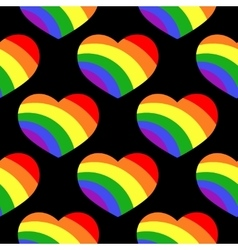 Gay lgbt seamless pattern with rainbow hearts vector