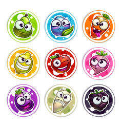 Funny bright round stickers with plant characters vector