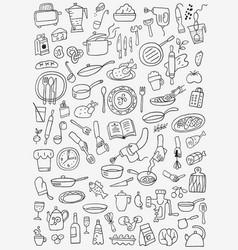 cookery food - doodles set vector image