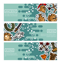 Set of horizontal banners about ancient rome vector