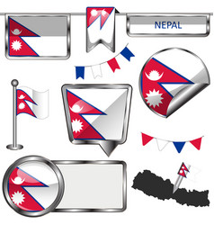 glossy icons with flag of nepal vector image