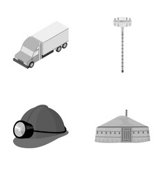 Truck alcohol meter and other monochrome icon in vector