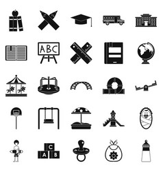 Pupil icons set simple style vector