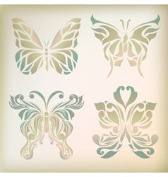 Retro floral butterfly background vector image