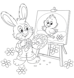 Easter bunny drawing vector