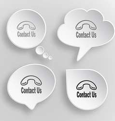 Contact us white flat buttons on gray background vector