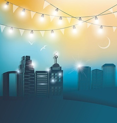 Modern city at night vector