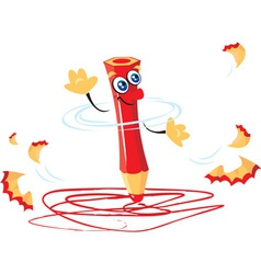 Crazy pencil cartoon vector
