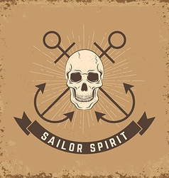 Sailor spirit skull with anchors on grunge vector