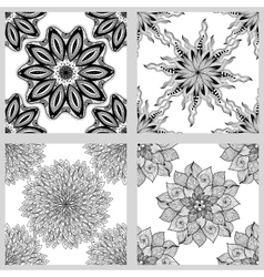 Set of mandala seamless patterns black and white vector