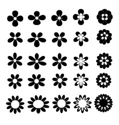 black flower icon collection on white background vector image vector image